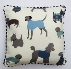 Decorative Dog Pillows Dog Themed Pillow Cover Dog Print Cushion Cover Cream Blue Grey