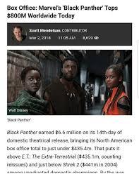 Black Box Meme - box office marvel s black panther tops 800m worldwide today scott