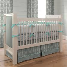teal and grey bedding gray and teal arrow crib bedding neutral