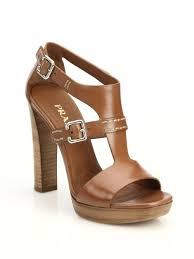 prada leather stacked heel sandals in brown lyst