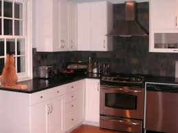 black backsplash kitchen white cabinets with black tile backsplash smith design kitchen