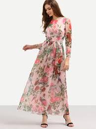 chiffon dress self tie print sleeve chiffon dress pink emmacloth