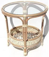round wicker end table amazon com pelangi oval coffee table with glass top natural rattan