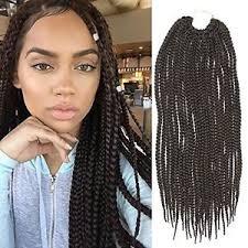 medium box braids with human hair 6 pack 18inch synthetic hair crochet braids medium box braids