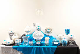 blue black u0026 white wedding candy buffet cherry blossom charm