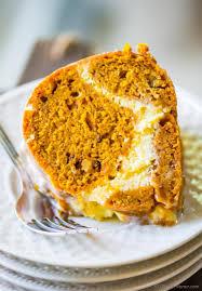 pumpkin bundt cake with cheesecake swirl recipe chefdehome com