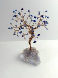 tree of life home decor wire tree sculpture blue aventurine gems on quartz gold wire tree