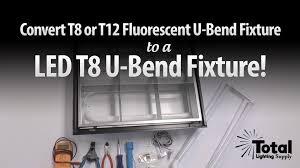 convert t8 or t12 fluorescent u bend fixture to led t8 u bend