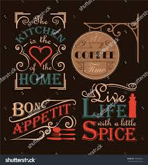 set interior wall decals mostly kitchen stock vector 346355822