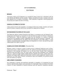 Maintenance Job Description Resume Responsibilities Of An Electrician Electrician Duties Resume