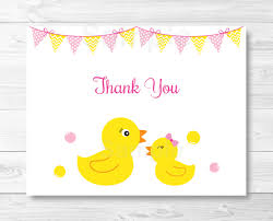 cute pink rubber duck thank you card rubber duck baby shower
