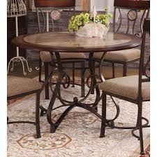 Faux Marble Top Dining Table Acme United Cherry Oak Dark Bronze Metal Faux Marble Top Round