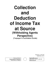 with holding tax deduction u0026 collection manual by fbr securities