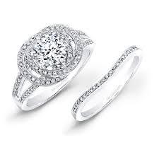 linked wedding rings white gold linked ring diamond halo engagement ring bridal set