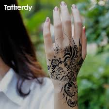 1sheet black and white henna fake lace tattoo stickers metallic