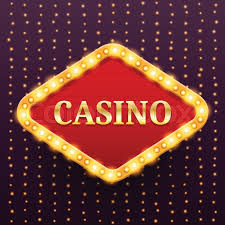 casino luxury retro banner template with lightbulb glowing on