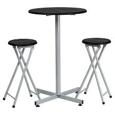 bar stool table set of 2 flash furniture 24 in round bar height table set with 2 folding