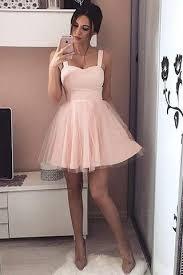 light pink graduation dresses sweetheart straps short light blush pink tulle a line homecoming
