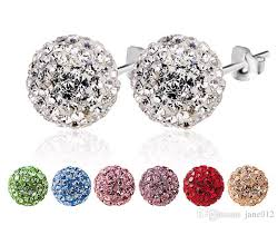 disco earrings solid 925 sterling silver earring studs disco