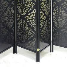 brand new timber wooden black patterned 4 panel fold screen room