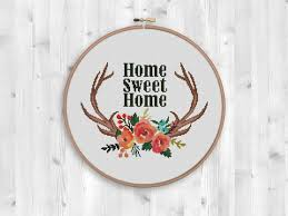 home decoration pdf bogo free deer cross stitch pattern wild deer antlers flowers