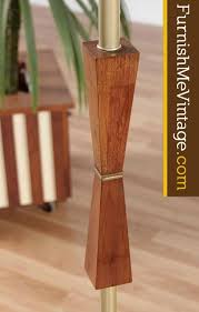 Midcentury Modern Floor Lamp - gold post and teak accented mid century modern floor lamp
