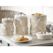ceramic kitchen canister sets fioritura ceramic kitchen canister kitchen canister set starfish coastal coffee tea sugar flour jars