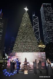 tree lit up in hk all china s federation