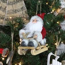 santa claus sitting on sledge santa and decoration