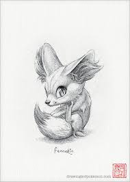 fennekin 5 x 7 print pokemon drawing art by drawingsofheroes