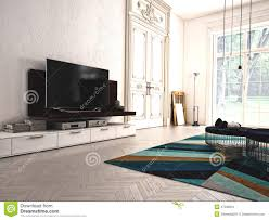 modern living room with tv and hifi equipment 3d stock photo