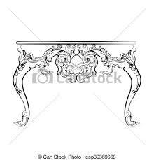 clip vector of baroque royal table with ornaments baroque