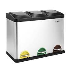 poubelle de cuisine tri s駘ectif 3 bacs vonhaus poubelle de tri sélectif recyclage intérieure 45l 3 bacs