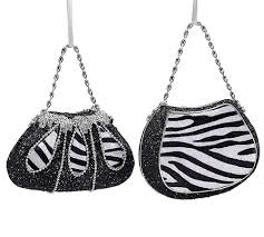 new set of 2 zebra print purse tree ornaments handbag
