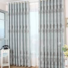 Light Grey Blackout Curtains Fancy Light Blue Geometrical Printing Curtains For Blackout Style