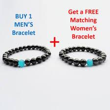 magnetic stone bracelet images Black magnetic hematite men 39 s health energy bracelet with blue png