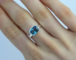 10mm ring sterling silver bezel set ring east west london blue topaz 8mm x