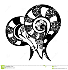 zodiac signs aries tattoo design stock vector image 17476745