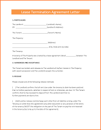 Notice Of Termination Of Agreement by Free Rental Termination Letter From Landlord To Tenant Word Doc
