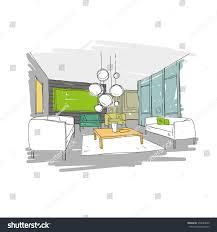 living room design interior sketch hand stock vector 370044899