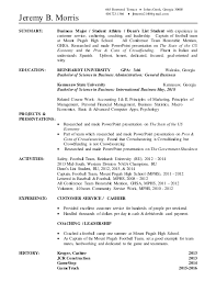 Bussiness Resume Jeremy Morris Business Resume Updated