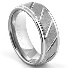 beveled ring 8mm brushed diamond cut grooved tungsten wedding band