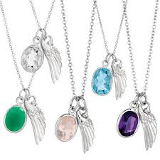 gemstone necklace pendant images Angel wing and gemstone pendant necklace angels emeralds jpg