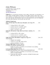 athletic resume athletic resume word