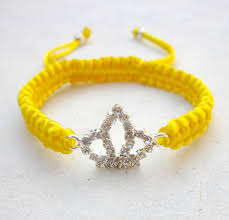 yellow bracelet images Crown bracelet yellow friendship bracelet rhinestone stack jewelry