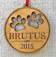 pet ornament with paw prints pets name and date laser engrave