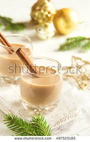 eggnog cinnamon sticks decoration ornaments stock photo