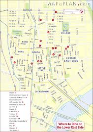 New York City Map With Attractions by Best Food Dining Restaurants Lower East Side New York Map