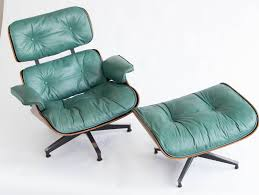 Eames Leather Lounge Chair Early Special Order Green Leather Rosewood Eames Lounge Chair And
