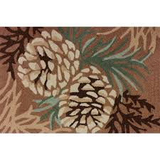 pinecone forest hooked rug